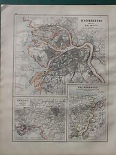 1900 VICTORIAN MAP ~ ST PETERSBURG & ENVIRONS ~ ATHENS ~ BOSPORUS CONSTANTINOPLE