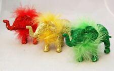 "Elephant Christmas Ornament Set 3 Gold Red Green 5"" Acrylic Christmas Kurt Adler"