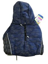 New listing Top Paw Dog Hooded Puffer Jacket Coat Large Blue Gray Faux Fur