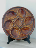 Gorgeous French Brown Majolica OYSTER SERVING PLATE -  mark ST CLEMENT  FRANCE