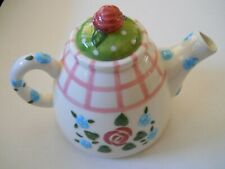 Mary Engelbreit Teapot Collectible Rare Rose Patch Flowers Signed 1998