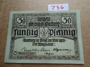 NOTGELD GERMAN  50 Pfg - WARBURG -   AU/UNC    WATERMARK
