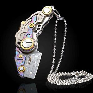 Wharncliffe Folding Knife Pocket Hunting Damascus Steel Titanium Handle Necklace