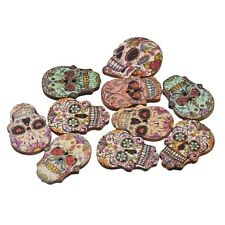 "Lot of 10 SUGAR SKULL 2-hole Wooden Buttons About 1"" each Scrapbook Doll (0268)"