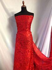 """NOUVEAU design rouge soyeux Satin mousseline de soie Floral Burnout tissu 58"""" 149cm robe Echarpe"""