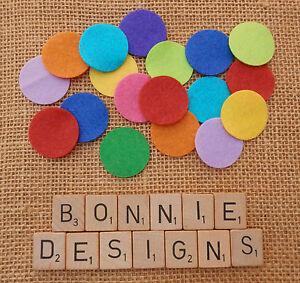 "FELT x24 CIRCLES 1""/3cm/1.5"" Spots Polka Dots Die Cuts Appliqué Craft Cardmaking"