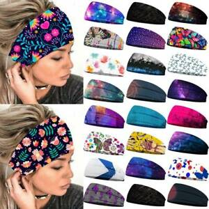 Womens Boho Wide Elastic Sports Fitness Yoga Head Wrap Headband Hairband Running