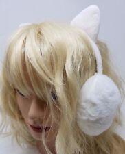 Minky Accessories Faux Fur Earwarmers with Cat Ears, Earmuffs, White