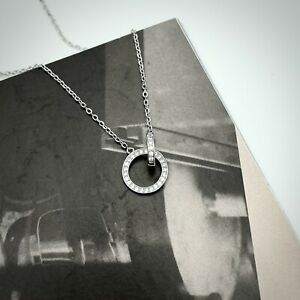 925 Sterling Silver Zircon Double Circle Pendant Necklace
