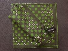TOM FORD GEOMETRIC GRAPHIC PATTERN GREEN SILK POCKET SQUARE MADE IN ITALY - NEW