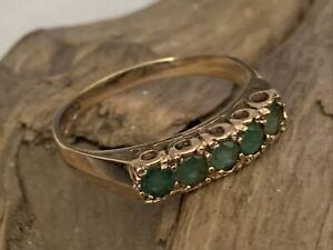 Vintage 9ct Gold Emerald Five Stone Ladies Pierced Dress Ring size S - 2.3gram