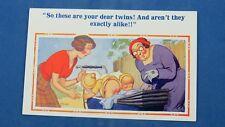 Risque Donald McGill Comic Postcard 1940s Optician BABY TWINS In A Pram Theme