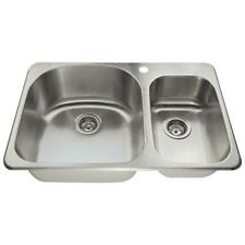 Drop-in Stainless Steel 32 in. 1-Hole Double Bowl Kitchen Sink MR Direct
