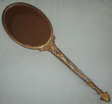 Vintage Oval Hand Mirror Long Gold Handle 1 side clear glass/1 side blue - Rare