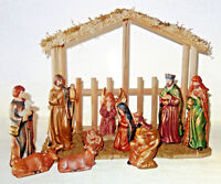 """Ashland 11 pc porcelain nativity set with 6"""" figures & wood creche NEW in box"""