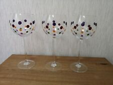 3 Large Multicolored Dot Red Wine Glasses Set