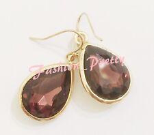 New listing Summer Hot Sales! 18 Carat Pear Shape Marsala Crystal Earrings, Gold Overlay