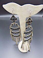 """Silver & Black Stone Earrings - 5"""" Long"""