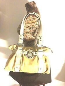 Kathy Van Zeeland vintage handbag color yellow beige large metal buckle