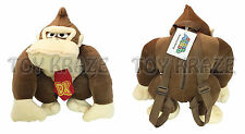 "DONKEY KONG PLUSH BACKPACK! BROWN GORILLA SOFT DOLL FIGURE BAG 13-14"" NWT"