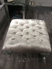 Chesterfield Cube Footstool Crushed Grey Velvet Queen Anne Style Legs