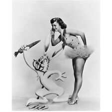 Debbie Reynolds Posing and Listening with Rabbit 8 x 10 Inch Photo