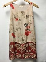 Anthropologie Language Womens Floral Silk Rayon Layered T Back Tank Top Red M 8
