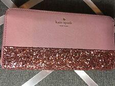 NWT Authentic KATE SPADE neda zip around wallet greta court Glitter READ 2 SH