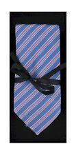Blue with Pink and White Stripes Silk Tie SARTIE 26
