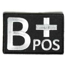 Embroidered B+ Blood ID B Positive Blood Group Sew or Iron on Patch Biker Patch