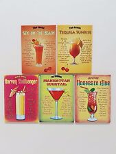 80's Cocktail Drink Recipes Tiki Bar Kitchen Pub Novelty Fridge Magnet Gift Set
