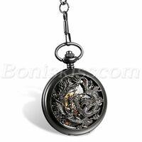 Unique Phoenix and Dragon Skeleton Hand Winding Mechanical Pocket Watch Pendant