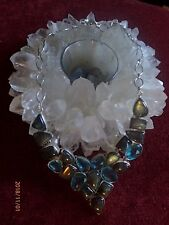 "Gorgeous Anniversary Choker Necklace 18"" Sterling Silver Blue Topaz, Labradorite"