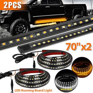 "2X 70"" Running Board LED Light Side Step Strip Bar White Amber Turn Signal Truck"