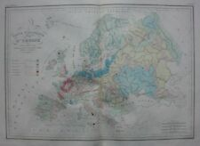 Original antique map, GEOLOGICAL MAP OF EUROPE, Malte-Brun, 1846