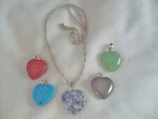 interchangeable polished stone heart pendants silver chain necklace with 5