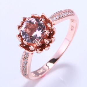 Lotus Solid 18k Rose Gold Morganite Gemstone Diamond Jewelry Wedding Fine Ring