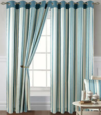 Duck Egg Blue Stripes Eyelet Curtains 90 x 90 - Living / Bedroom Curtains