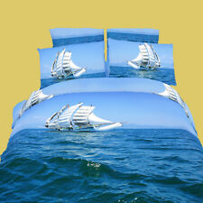 Twin 4 Piece Modern Marine Design 100% Cotton Bedding Gift Set, DM482T