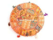 Indian Orange Patchwork Decorative Floor Pillow Cushion Seating Throw Cover 2