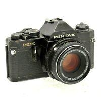 Pentax MX 35mm Black SLR Film Camera 50mm Prime lens. Working. New batteries
