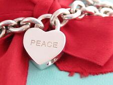 "Tiffany & Co Silver ""Peace"" Padlock Heart Charm Bracelet 7.5"""