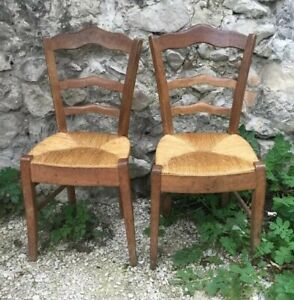 2 Antique French Hand Made Country 1800s Ladder Back Rush Seat Chairs Kitchen