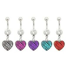 Zebra Heart Belly Ring Black White Purple Pink Navel Dangle Clear CZ Gem Animal