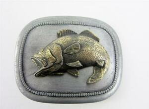 Belt Buckle Vintage Fish Fishing Brass Silver Figural Fathers Day Fisherman