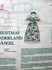 "Christmas Wonderland Fabric panel doll Wamsutta 11"" pocket doll Angel"