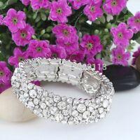 Bridal Wedding Adjustable Austrian Crystal Silver Stretch Bracelet Jewellery