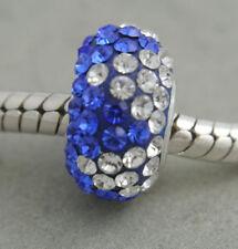 HANDMADE SILVER EUROPEAN Charm Bead for Bracelet H70 AUSTRIAN Crystal WHITE/BLUE