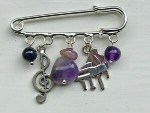 Silver Plated 5cm Pin with Treble Clef & Piano Charms & Amethyst Beads