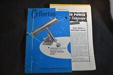 1955 Criterion Telescope Catalog, Hartford, Ct.